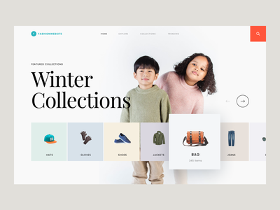 #Exploration - Fashion Website card pastel colors kids typography minimalist whitespace clean ux ui hero section desktop landing page homepage website design apparel clothes collections outfit fashion