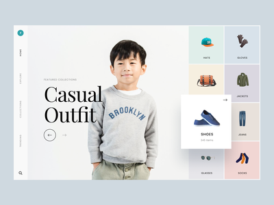 #Exploration - Fashion Website minimalist typography clean ux ui homepage landing page website design shirt sweater outfit collections kids model photography apparel clothing brand fashion