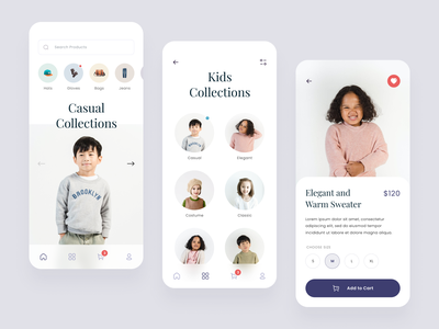 #Exploration - Fashion Mobile App circle typography minimalist clean ux ui android ios app mobile style outfit collections kids brand design apparel clothing fashion
