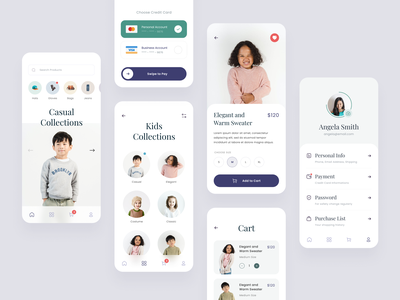 #Exploration - More Screens - Fashion Mobile App cart e-commerce shop pastel colors minimalist typography whitespace clean ux ui design ios app mobile brand kids apparel clothing outfit fashion