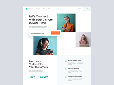 #Exploration - Landing Page for Messaging Platform design web whitespace card ui clean message software desktop homepage landing page website visitors relationship chat customer