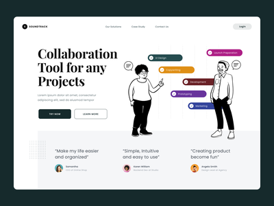 #Exploration - Hero Section for Task Management Tool card collaboration tool management task illustrations testimonials minimalist whitespace typography bold ux ui design hero section desktop homepage website landing page