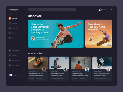 #Exploration - Skateboard Video Platform profile user photography card ux ui typography bold sport skateboard platform video dashboard website design whitespace clean dark ui night mode dark mode
