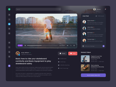 #Exploration - Skateboard Video Platform - Video Player user chat skateboard video play detail card sport dashboard website whitespace bold clean ux ui design night mode dark ui dark mode video player