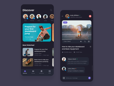 #Exploration - Skateboard Video Platform - Mobile App night mode dark ui dark mode whitespace bold clean card profile user comments player platform video dashboard ui ios iphone design app mobile