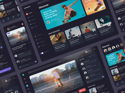 #Exploration - Skateboard Video Platform - Screens typography mobile app card photography sport skateboard platform video clean bold design ui night mode dark ui dark mode website desktop dashboard