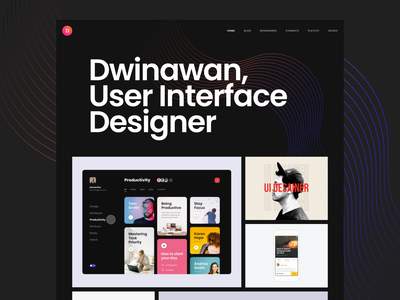 My Personal Website - New Hero Section ux ui showcase portfolio design website curve line typography bold dark mode landing page hero section