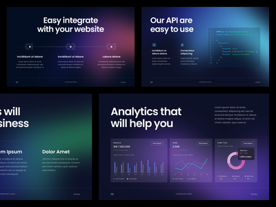 #Exploration - Pitch Deck dashboard ui whitespace branding neon gradient dark mode bold typography clean website template powerpoint keynote slide deck pitch design presentation