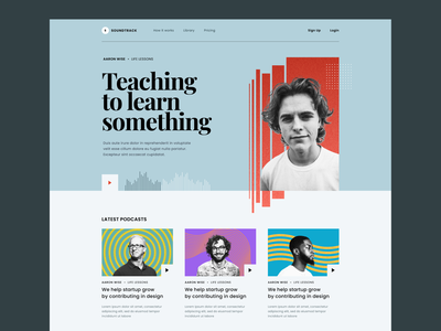 #Exploration - Podcast Website whitespace typography clean ui streaming podcast colors pastel ornaments pop art vintage card homepage website design
