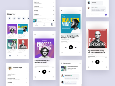 #Explorations - Podcast App - Light Mode comments settings typography android iphone art cover card music play streaming podcast whitespace clean design ui app light mode