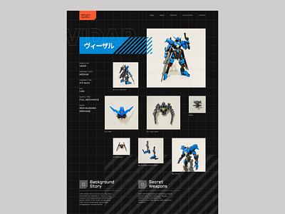 #Exploration - Gundam Website japan bold typography dark mode tech future clean whitespace robot mecha gunpla gundam grid ui design website