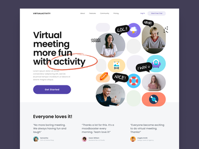 #Exploration - Virtual Meeting Activity Website bold typography unique layout whitespace clean ui illustration cartoon photography bright colorful fun game activity meeting virtual landing page design website