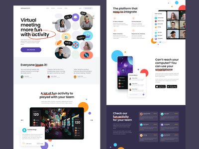 #Exploration - Virtual Meeting Activity - Full Page clean whitespace illustrations bold typography colorful hangout meeting activity fun desktop homepage landing page full page ui design website