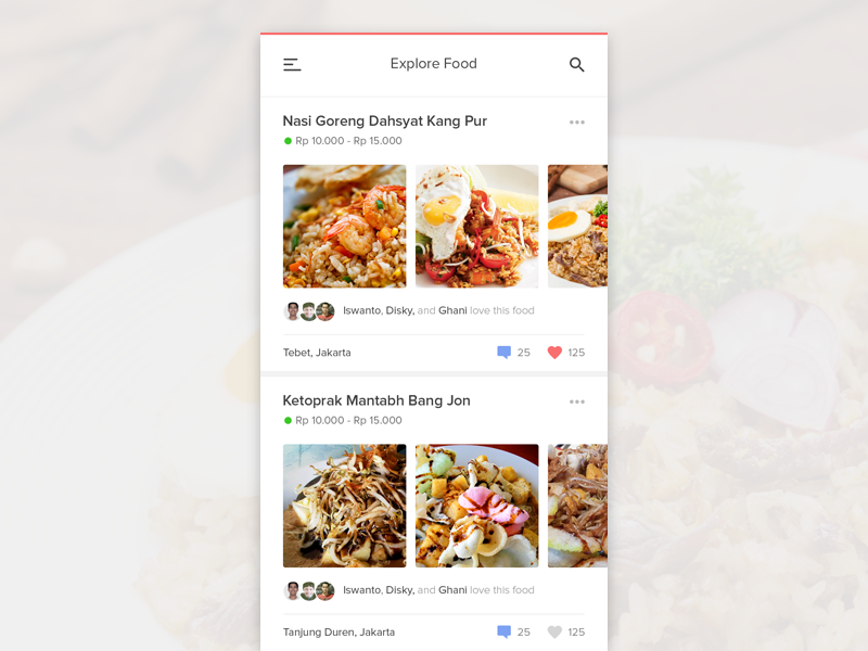 #Exploration | Food App simple clean user photo feed timeline material ios iphone android app food