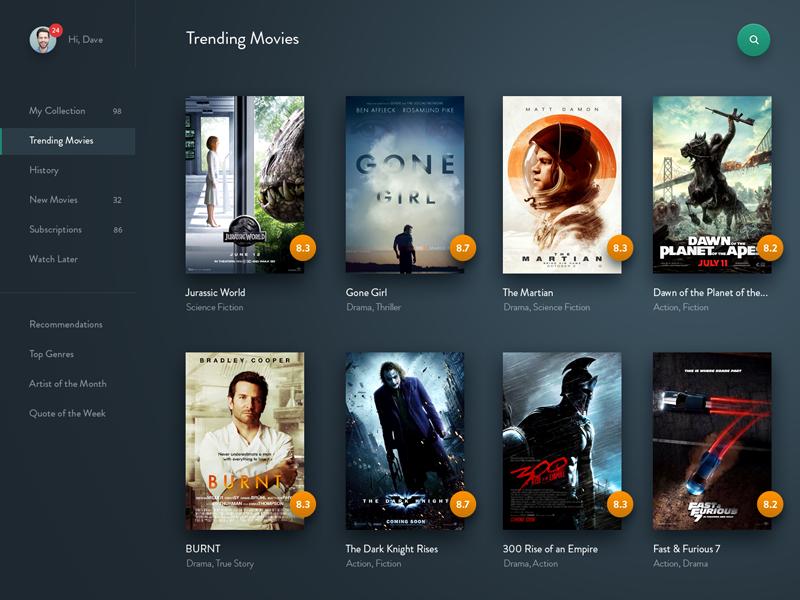 #Exploration | Movie Streaming diffuse shadow gradient list side menu film movie thumbnail dashboard desktop web