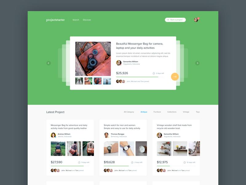 #Exploration | Website Homepage kickstarter project desktop thumbnail clean white color card ui web