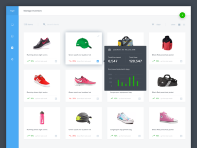#Exploration | Dashboard Inventory sport stats cart shop commerce chart thumbnail sidebar menu desktop web dashboard