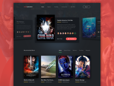 #Exploration | Movie Streaming 2 landing homepage thumbnail carousel card dark diffuse shadow desktop movie web