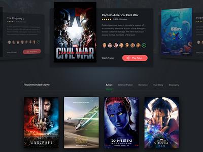 #Exploration   Movie Streaming 2 landing homepage thumbnail carousel card dark diffuse shadow desktop movie web