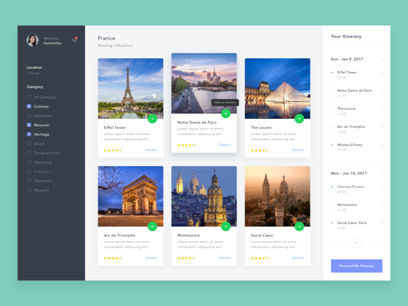 #Exploration | Simple Web to create itenerary user timeline dashboard card desktop backpack travelling travel app web tourism