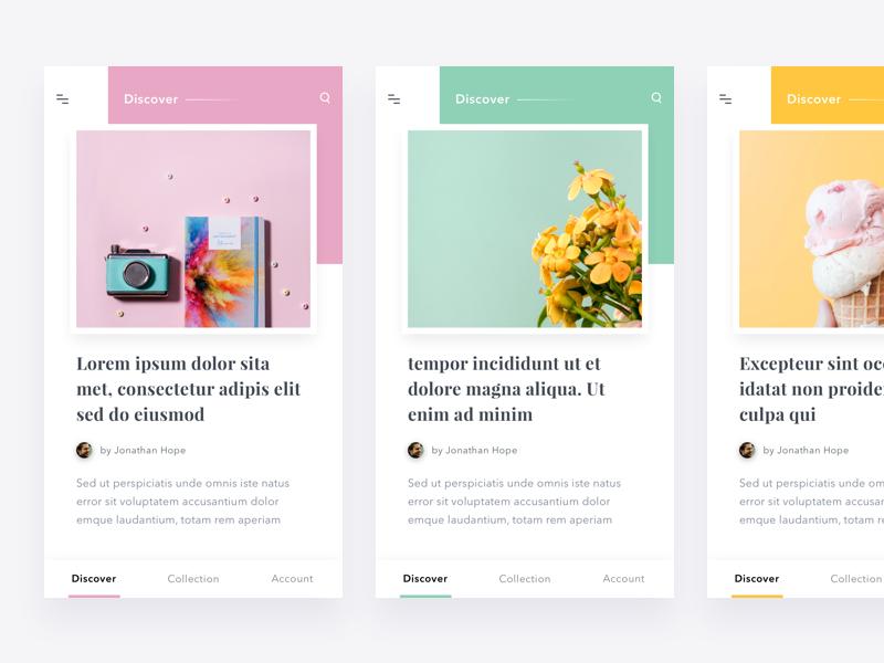 #Exploration | Pastel Color thumbnail list detail clean pastel pallete color article android ios app