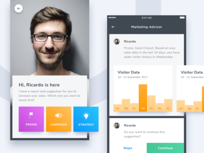 #Exploration | AI for Marketing Suggestion app card clean ai chat bot smart assistant report chart stats dashboard
