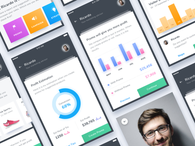 #Exploration | AI for Marketing Suggestion stats smart report dashboard clean chat chart card bot assistant app ai