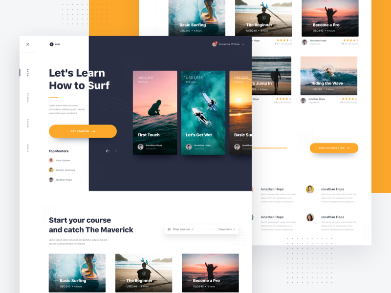 #Exploration | Website Learn to Surfing - Detail shadow floating page landing clean card surfing web desktop