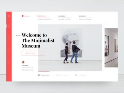 #Exploration | Museum Website art gallery red white clean simple minimalism museum page landing web desktop