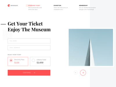 #Exploration | Museum Website - Some Screens art gallery red white clean simple minimalism museum page landing web desktop