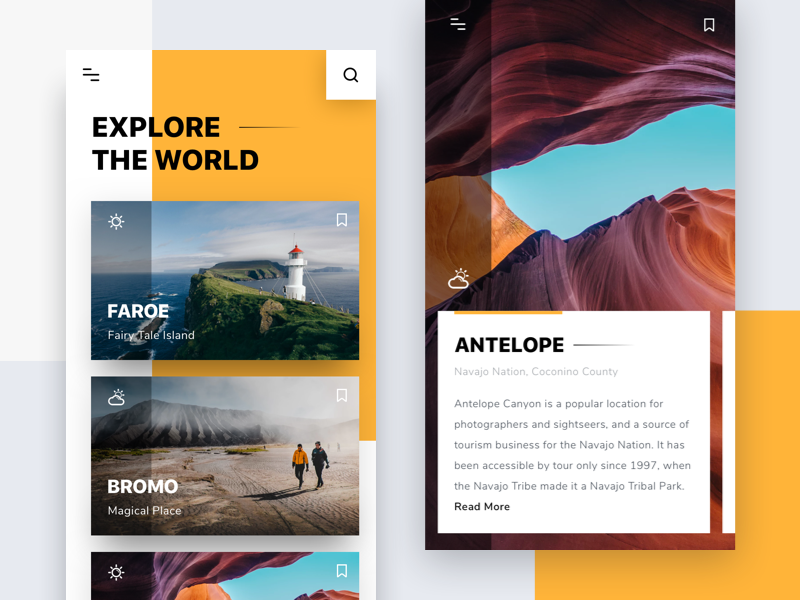 #Exploration | Explore The World App yellow clean shadow photo tour travel card android ios app