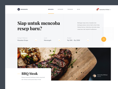 #Exploration   Recipe Web ui design branding photo overlapping clean food landing page desktop web recipe