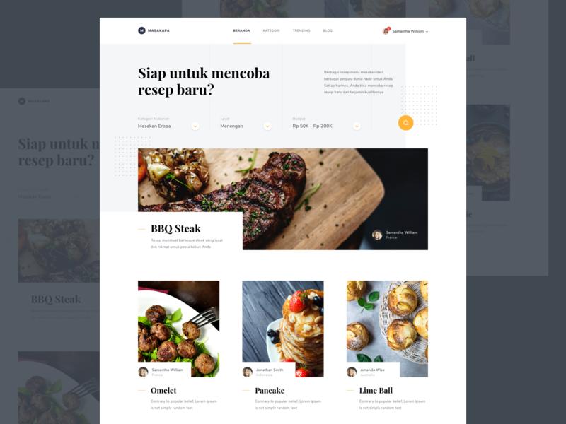 #Exploration | Recipe Web web ui recipe photo overlapping landing page food desktop design clean branding