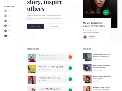 #Exploration - Podcast Homepage color typography white clean card streaming music homepage podcast page landing website desktop ui web