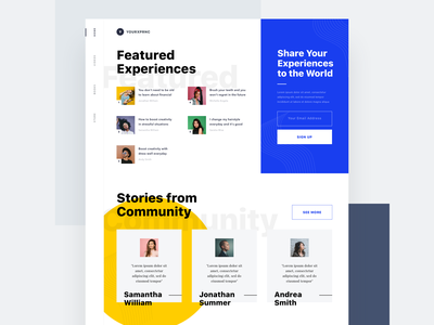 #Exploration - Homepage music play ui clean big color photo podcast medium article card overlap typography bold website homepage desktop web