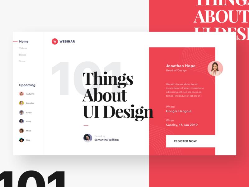 #Exploration - Webinar Homepage sidebar ui clean bold typography live webinar homepage home web desktop