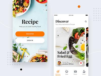 #Exploration - Recipe App icons icon cook bold ios 11 android ios card food recipe mobile app ui