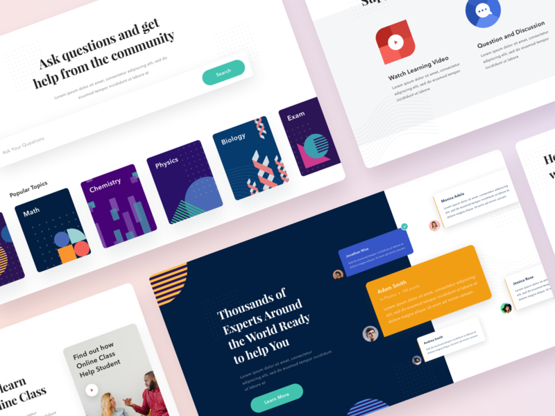 #Exploration - E Learning Website ornament colorful simple shape card bold color typography white clean design ui geometric education web