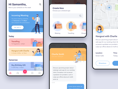 #Exploration - Meeting App add chat map meeting white color card iphone ios android clean illustration design ui app