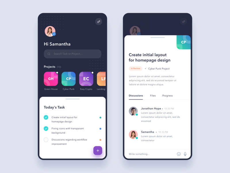 #Exploration - Task Management Mobile App design ui dark gradient shadow clean management project category chat card iphone iphone x android ios app