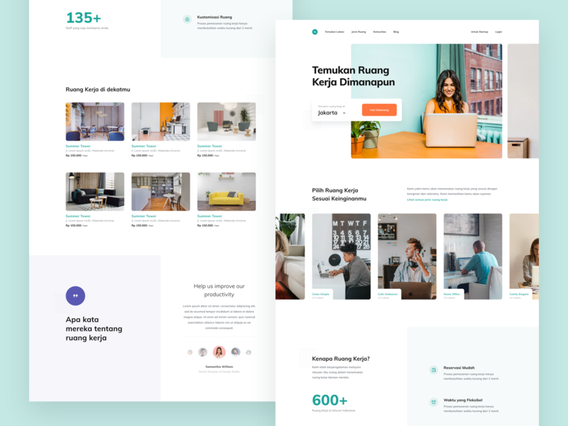 #Exploration - Workspace Finder Landing Page bold quote photography card hero slider ux ui homepage white clean web desktop
