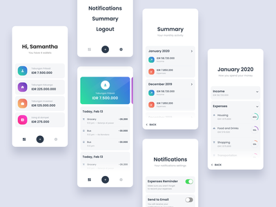 #Exploration - Light version Money Management App list bold typography mobile iphone icons ux ui wallet whitespace gradient card stats dashboard light clean ios app money