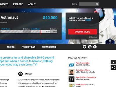 UI design for a video contest site ux ui web design