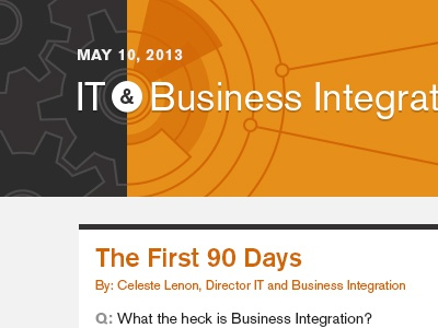 IT & Business Integration Email it business tech integration email email newsletter gray dark gray orange akzidenz-grotesk