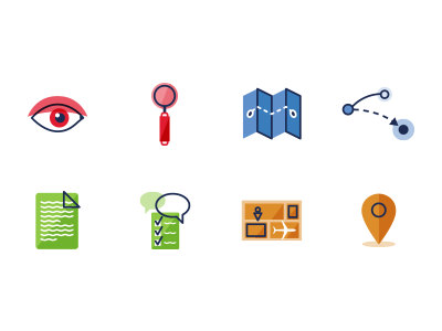 Process Icons icons green red blue orange eye magnifying glass document review storyboard map