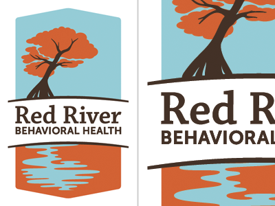 Red River identity blue red slab serif chaparral museo tree river water shield