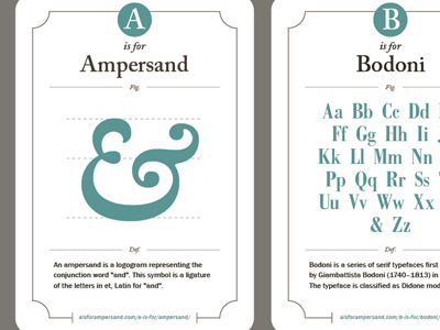 A Is For Ampersand Cards cards alphabet ampersand bodoni