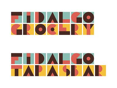 Restaurant logo concept bar grocery tapas spanish european lettering geometric tiles