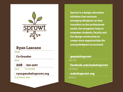 Sprowt Business Cards business cards brown green plant leaves adelle
