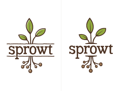 Sprowt Logo Refinements logo identity plant leaves roots sprowt sprout green brown
